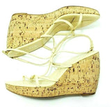 Prada Women Fashion Sandals Wedge Cork Platform Leather Strappy EU 39  US 8.5