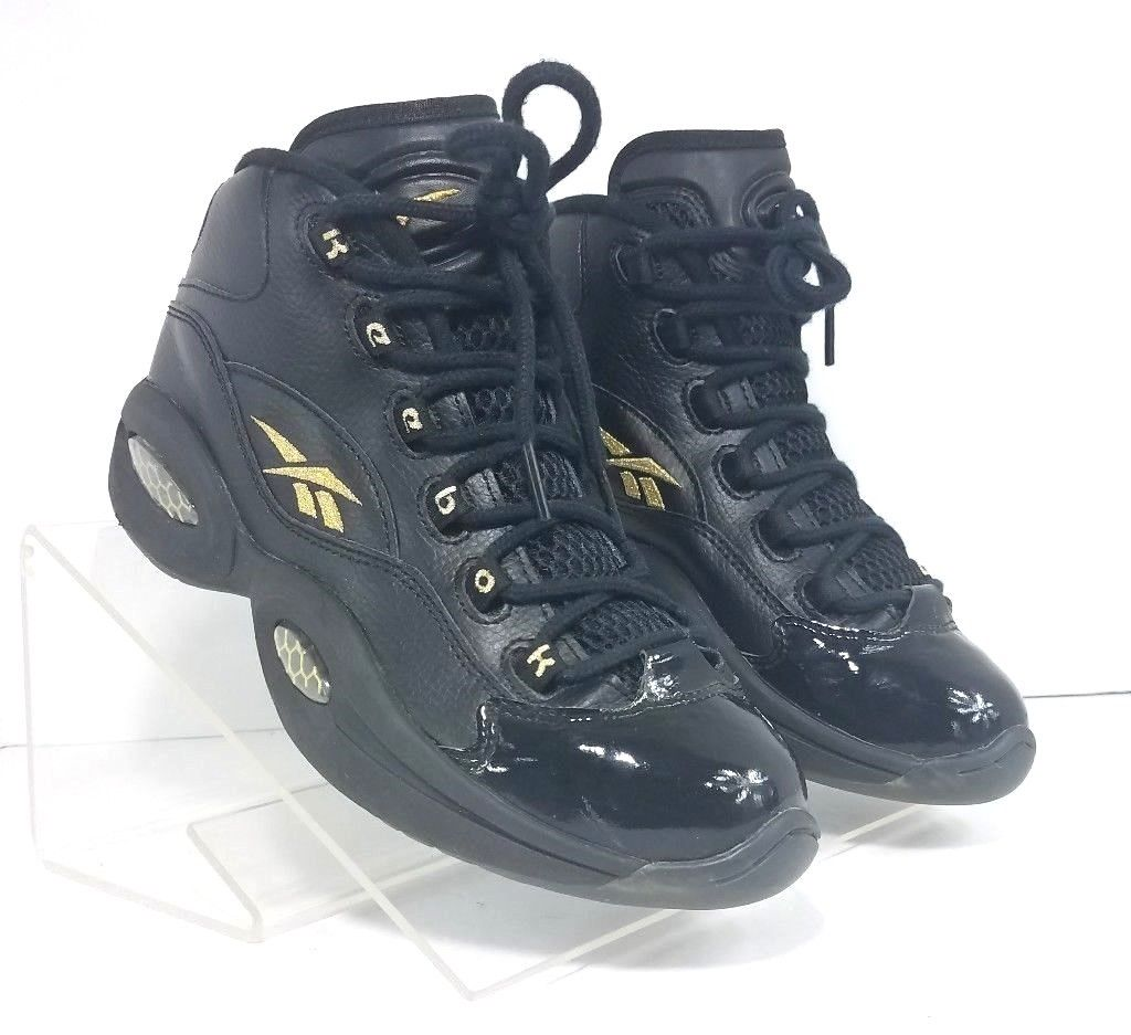 8aeab0580963 Reebok Allen Iverson Question Mid Black Gold Men Athletic Sneakers Size 6