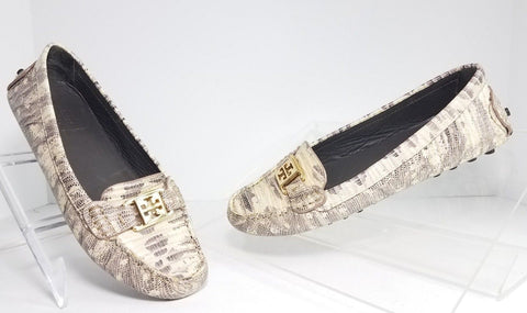 Tory Burch Kendrick Driver Python Beige/Gray Women Fashion Casual Shoes Size 6.5
