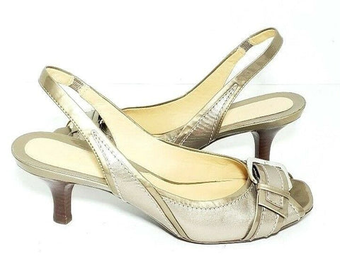 Cole Haan Slingback Peep Toe Leather Women Fashion Sandals D28779 Size 8B