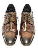 Johnston & Murphy Men Woven Cap Toe Derby Leather Brown Size 9.5M Pre-owned