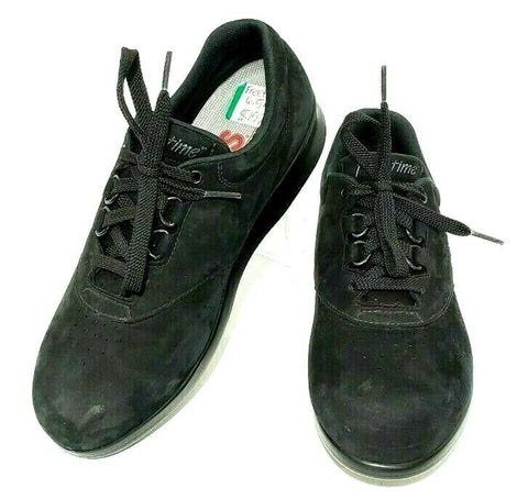 SAS Free Time Womens Tripad Comfort Black Suede Diabetic Walking Shoes Size 6.5M