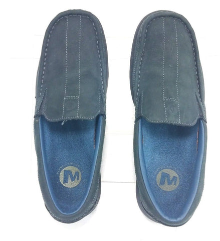 Merrell Blue Leather Suede Slip-On Loafer Air Cushion Men Casual Shoes Size 9