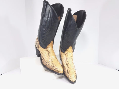 Dingo Snakeskin Black Leather Cowboy Women Fashion Boots Size 9M