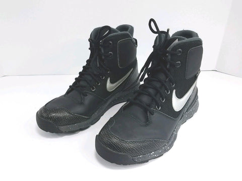 Nike ACG Black Gray Leather Stasis Children Boots 685610-001 Size 5.5Y
