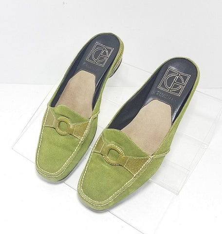 Cole Haan Nike Air Green Suede Women Clogs/Mules Size 7.5B