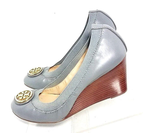 Tory Burch Blue Leather Wedge Women Heels/Pumps Size 8M