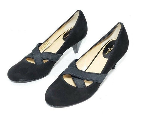 Cole Haan Women Heels/Pumps Cross Strap Cone Heel Black Suede Size 7.5B