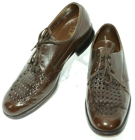 Florsheim Woven Derby Brown Leather Men Oxfords Size 9.5E