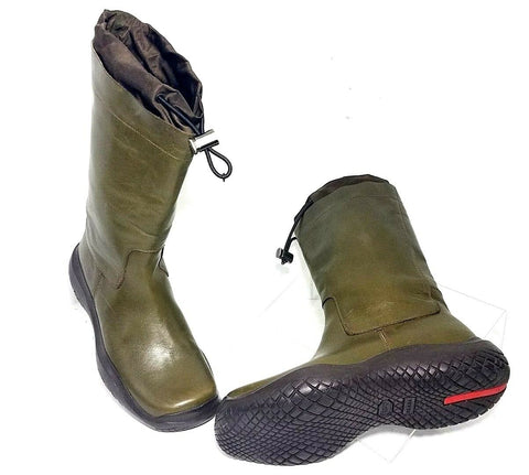 Prada Womens Vintage Rain Boots Leather Green US Size 10 Authentic!