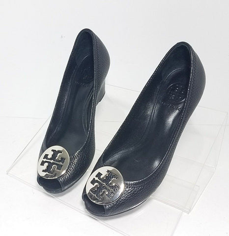 Tory Burch Black Leather Peep Toe Wedge Women Heels/Pumps Size 6.5