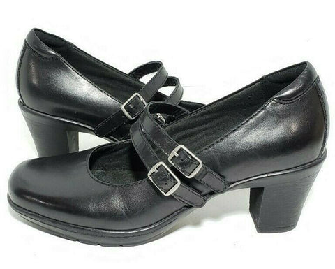 Clarks Bendable Womens Mary Jane Size 6.5 Black Leather Double Strap Heels Pumps