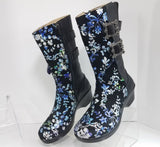 Alegria Black Leather Blue Floral Erica Snazzy Women Fashion Boots Size EU 39 US 8.5 New