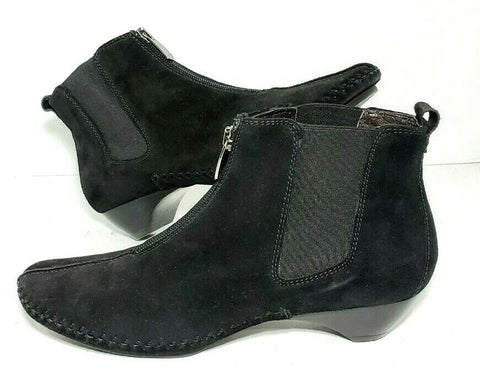 Donald Pliner Booties Womens Size 7 Black Elastic Zip Suede Ankle Boots