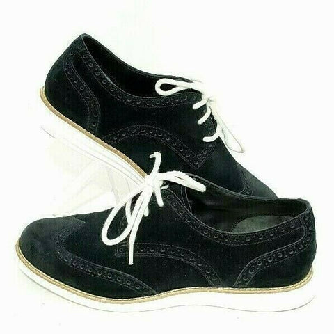 Cole Haan Lunargrand Womens Oxford Wingtip US 6.5B Suede Black White Shoe