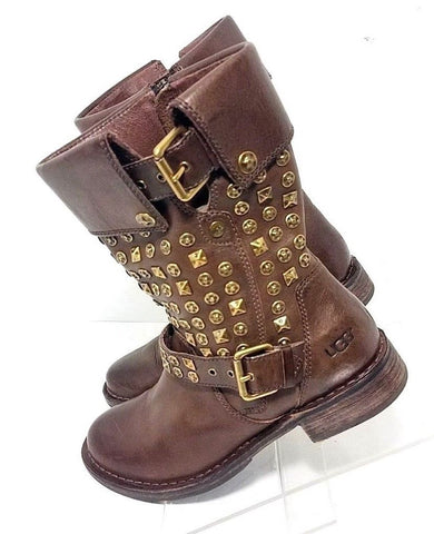 UGG Australia Conor Brown Leather Studded Women Fashion Boots Size 6.5