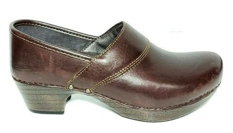 Dansko Slip On Womens Professional Clogs EUR 39 Brown Leather Shoe US 8.5-9