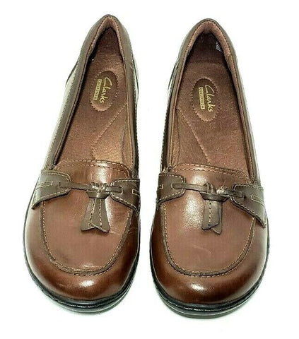 Clarks Collection Brown Leather Women Fashion Casual Shoes Size 11M