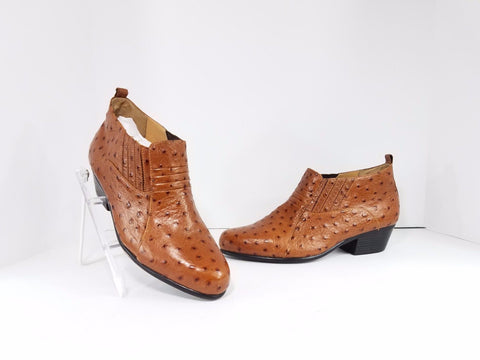 Giorgio Brutini Ostrich Skin Leather Ankle Slip On Men Boots US 9.5M