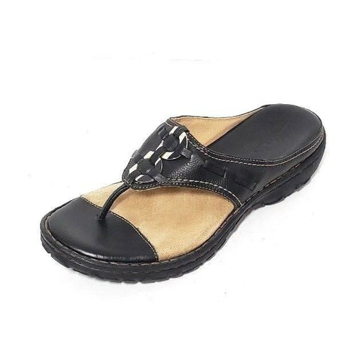 Clarks Avoca Thong Black Leather/Tan Women Fashion Sandals Size 6.5 M