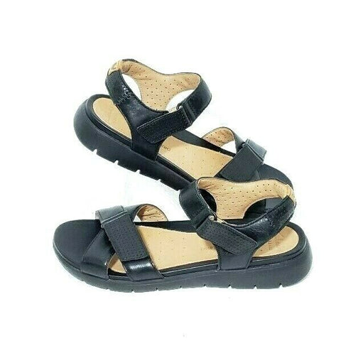 Clarks Artisan Un Saffron Sandals Womens Size 7M Unstructured Black Leather