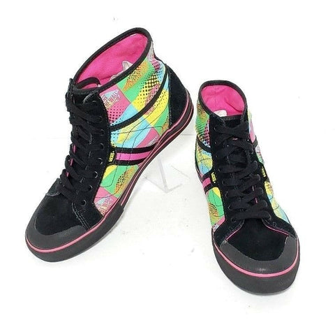Vans Off The Wall Canvas High Top Black/Pink/Blue Women Sneakers Size 7
