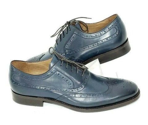 Johnston & Murphy Wingtip Mens Oxfords Brogue Blue Leather Size 9M