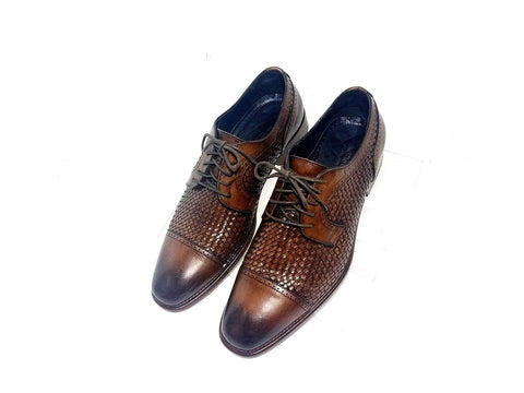 Johnston & Murphy Cormac  Brown Woven Cap Toe Leather Men Oxfords Size 9.5 M