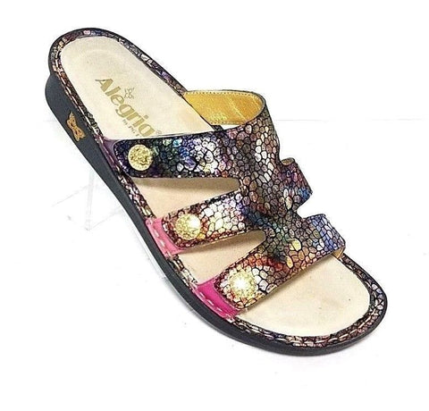Alegria PG Lite Venus Women Fashion Sandals Purple Multi Color Gleam Size 39