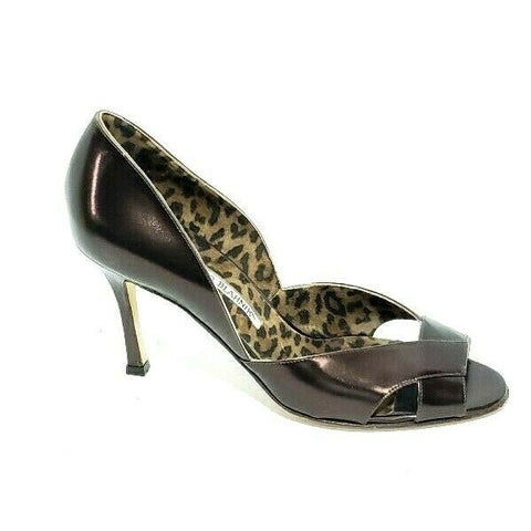 Manolo Blahnik Pumps Peep Toe Heels Patent Leather Womens EUR 37 US