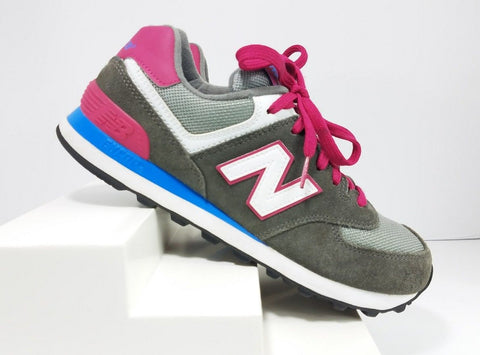 New Balance 574 Gray/Rose Pink/Blue Running Women Sneakers  Size 7