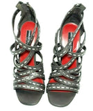 Charles Jourdan Strappy Heels Womens Size 7M Grey Leather Shoe