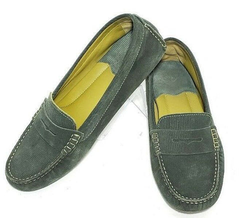 Johnson & Murphy Women Loafers Penny Corduroy Green Size 9M  Pre-owned