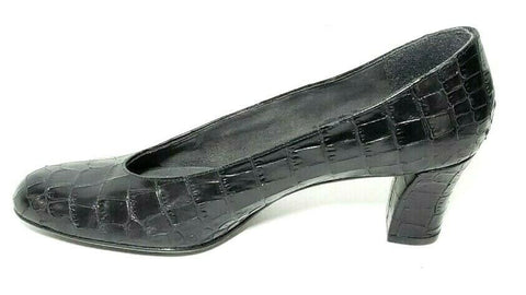 Stuart Weitzman Women Heels/Pumps Croc Embossed Black Size 7 Almond Toe