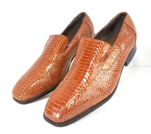 Stacy Adams Crocodile Texture Cognac Leather Men Loafers Size 12W
