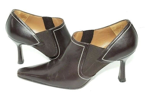 Donald J Pliner Brown Leather Snip Toe Women Heels/Pumps Size 8M
