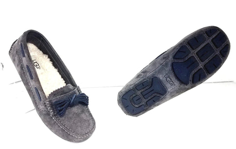 UGG Austrailia Meena II Gray Moccasin Slippers Women Fashion Casual Shoes Size 5.5