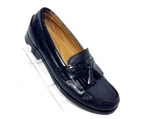 Chaps Carson Tassel Kiltie Black Leather Men Loafers 096-7104  Size 10M