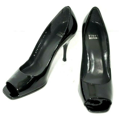 Stuart Weitzman Women Heels/Pumps Size 6.5M Black Patent Open Toe