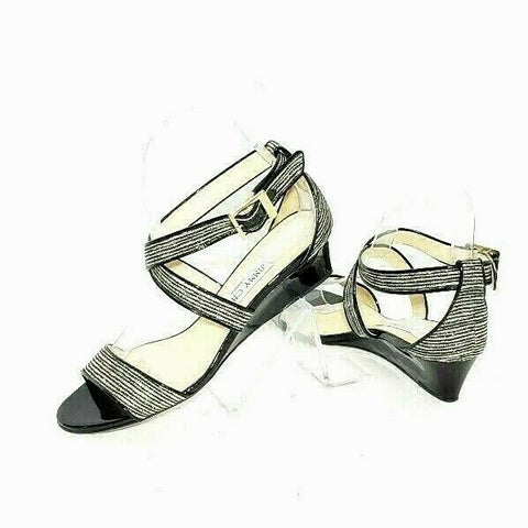 Jimmy Choo Chiara Glitter Sandals Crisscross Demi Wedge Patent  Size 37.5