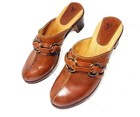 Frye Boot Brown Leather Charlotte Ring Women Clogs/Mules Size 6M