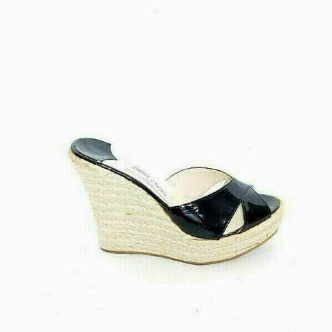 Jimmy Choo Espadrille Wedge Sandal Open Toe Black Patent Leather EUR 37 US7