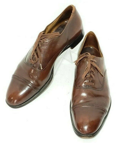 Brooks Brothers English Cap Toe Brown Leather Men Oxfords 42C - 9