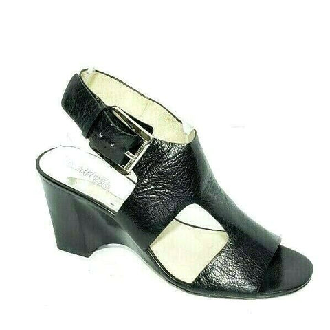 Michael Kors Wedge Sandals T Strap Black Leather Silver Buckle Womens US 8.5M
