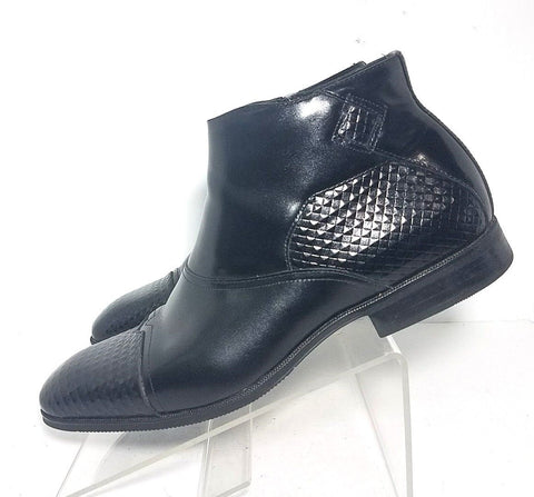 Stacy Adams Black Leather Embossed Print Ankle Zip Men Boots Size 10.5 M