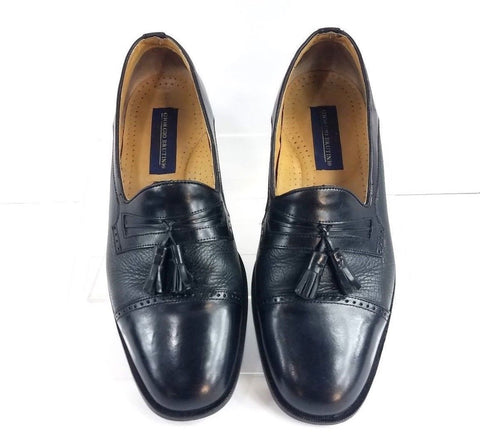 Giorgio Brutini Cap Toe Tassel Black Leather Men Loafers Size  9D
