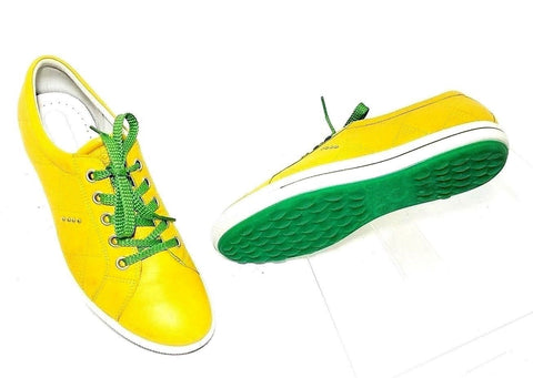 Ecco Spikeless Yellow Leather/Green Golf women Sneakers Size EUR 42  US 11.5