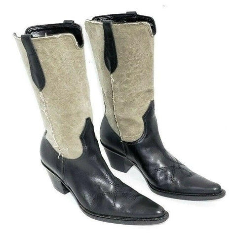 Franco Sarto Western Two Tone Leather Women Fashion Boots Size 6M