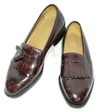 Johnston & Murphy Optima Burgundy Tassel Kiltie Men Loafers Size 10 3E