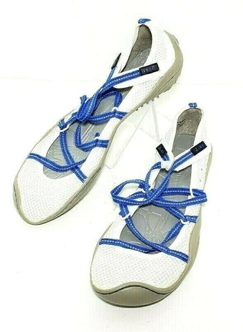 Jambu J-41 Genesis Barefoot White/Blue/Mesh Strap Laces Women Fashion Casual Shoes Size 8M